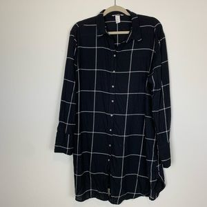 H&M Black and White Button Up Dress/Tunic Sz 14